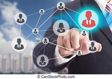 pessoas, virtual, mão, tocar, interface, selecione
