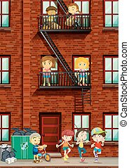 pessoas, vivendo, em, a, apartamento