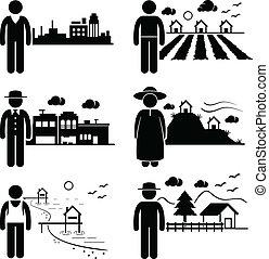 pessoas, vivendo, em, diferente, lugares