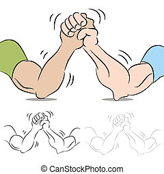 pessoas, wrestling, braço, dois