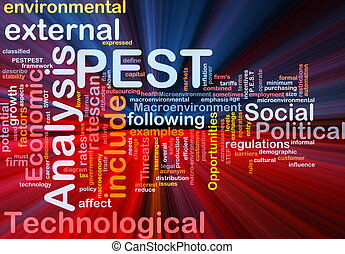 PEST analysis background concept glowing