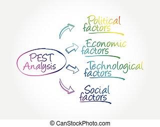 PEST analysis mind map, political, economic