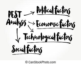 PEST analysis mind map, political, economic, social, technological analysis