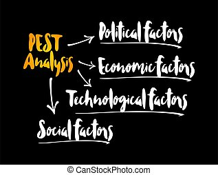 PEST analysis mind map, political, economic, social