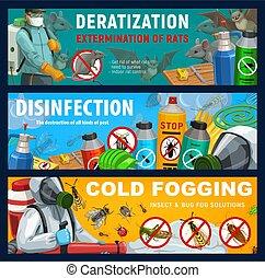 Pest control banners, disinfection, deratization