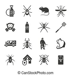 Pest Control Black White Icons Set