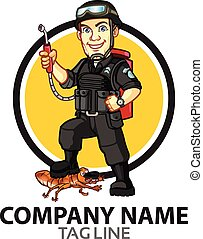 Vector Design of Pest Terminator Guy Dressing in SWAT Squad for Logo Icon Graphics
