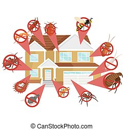 Pest control concept with insects exterminator silhouette...