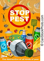 Pest control, disinsection service. Vector insects extermination equipment. Bugs and cockroach, ant and fly, chemical insecticide and pesticide sprayers, mosquito and termite, tick, aphid, mouse trap