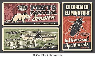 Pest control exterminator, cockroach, rat, plane