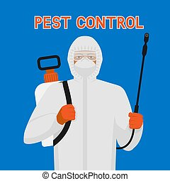 Pest Control exterminator in protective suit and mask with sprayer