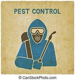 Pest Control Exterminator in protective suit vintage background