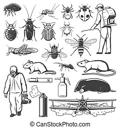 Pest control exterminator, insect and rodent icons