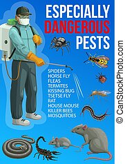 Pest control exterminator, insects, rodents, spray