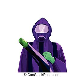 Pest Control Exterminator Man in Purple Suit and Green Gloves