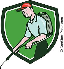 Pest Control Exterminator Spraying Crest Cartoon