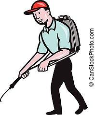 Pest Control Exterminator Spraying Cartoon