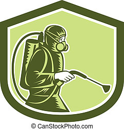 Pest Control Exterminator Spraying Shield Retro -...