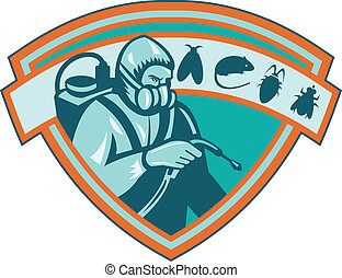 Retro Illustration of a pest control exterminator worker spraying with rat, mice, mouse, fly, bug, cockroach set inside shield on isolated white background.