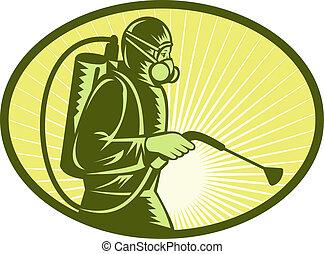 Pest control exterminator worker spraying side view -...