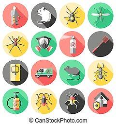 Pest Control Flat Icons Set