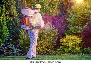 Pest Control Garden Spraying by Professional Gardener Who...