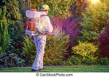 Pest Control Garden Spraying by Professional Gardener Who Wearing Safety Wearing.