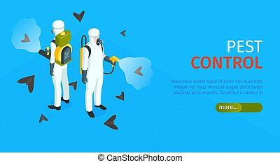 Pest control horizontal banner with exterminators of insects in chemical protective using repellents against pests isometric vector illustration