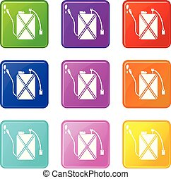 Pest control icons set 9 color collection
