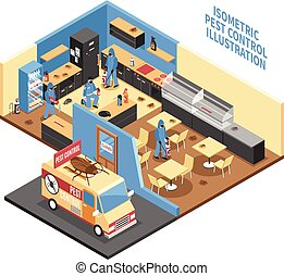Pest Control In Cafe Isometric Illustration