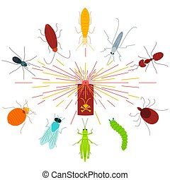 Pest control line icon set with insects in the cloud of dispersed pesticide. Insecticide aerosol spray. Linear design elements for exterminator service and pest control companies.