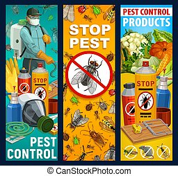 Pest control, insects and exterminator banners
