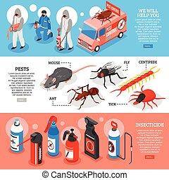 Pest Control Isometric Horizontal Banners
