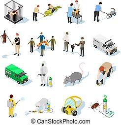 Pest Control Isometric Icons