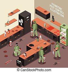 Pest Control Isometric Illustration