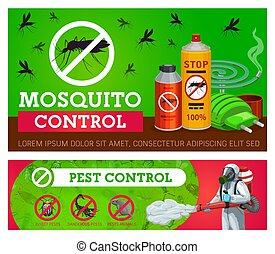 Pest control, mosquito disinsection vector banners with repellents and exterminator with cold fogger. Home insects disinsection. Mosquito fumigation tools electric repellent, coil spiral and aerosol