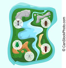 Pest control over separate green island with river and...