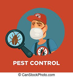 Pest control promotional poster with worker and cockroach