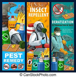 Pest control sanitary service vector banners. Disinfestation and deratization with insecticides, domestic disinfection and fumigation of bugs, rodents and insects repellents and pests toxic remedy