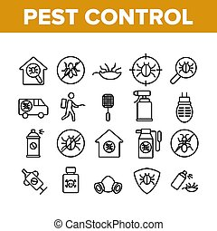 Pest Control Service Collection Icons Set Vector