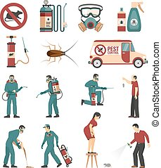Pest Control Service Flat Icons Collection - Pest control...