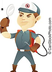Pest control service holding magnifying glass