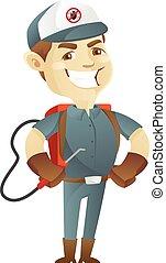 Pest control service holding pest sprayer