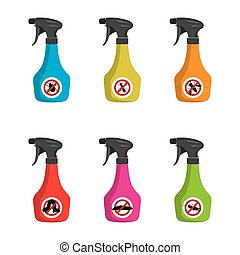Pest control. Set of multicolored spray