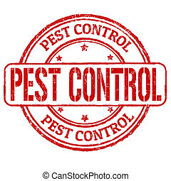 Pest control grunge rubber stamp on white, vector illustration