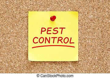 Pest Control Sticky Note - Pest Control on yellow sticky...
