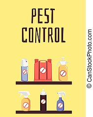 Special pest control supplies and aerosols for professional disinsection services poster. Deep cleaning materials banner, flat cartoon vector illustration