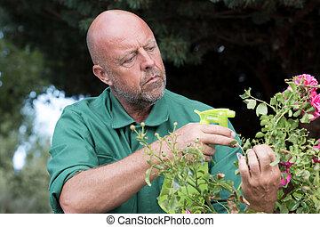 pest control technician using high pressure spray on vegetation