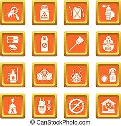 Pest control tools icons set orange square vector