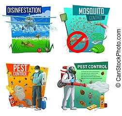 Pest control vector icons, disinsection service